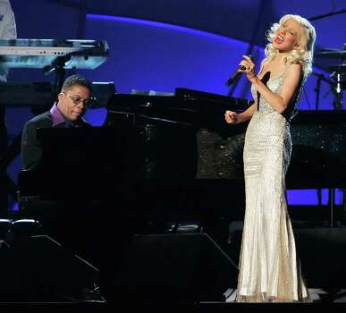 """Herbie Hancock and Christina Aguilera perform """"A Song for You"""" at the 48th Annual Grammy Awards on Wednesday, Feb. 8, 2006, in Los Angeles. Photo: MARK J. TERRILL, AP / AP"""