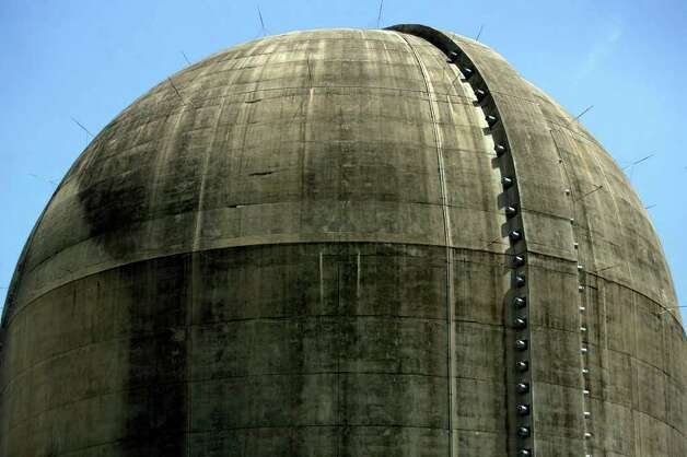 The walls of the reactor structures at the South Texas Project are made of reinforced concrete that are four feet thick. Plans are in the ready for the construction of two more reactors on the site. The needle-like things sticking outward are lightning rods.  JOHN DAVENPORT/jdavenport@express-news.net Photo: JOHN DAVENPORT, SAN ANTONIO EXPRESS-NEWS / jdavenport@express-news.net