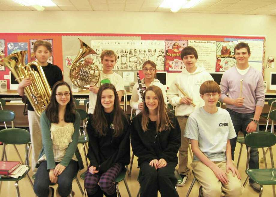Ten Coleytown Middle School students, out of hundreds across the region, auditioned for and were selected for admission to the Western Region Music Festival's Concert Band and Chorus.  Pictured, from left to right, front row, are: Ali McGovern, Sarah Quagliarello, Kimmie Gladitsch and Steven Bean. In the back row, from left to right, are: George Menz on Tuba, Jack Baylis on French Horn, Anna Greenberg on Clarinet, and James Marcante and Kevin Watt on Percussion Photo: Contributed Photo / Westport News