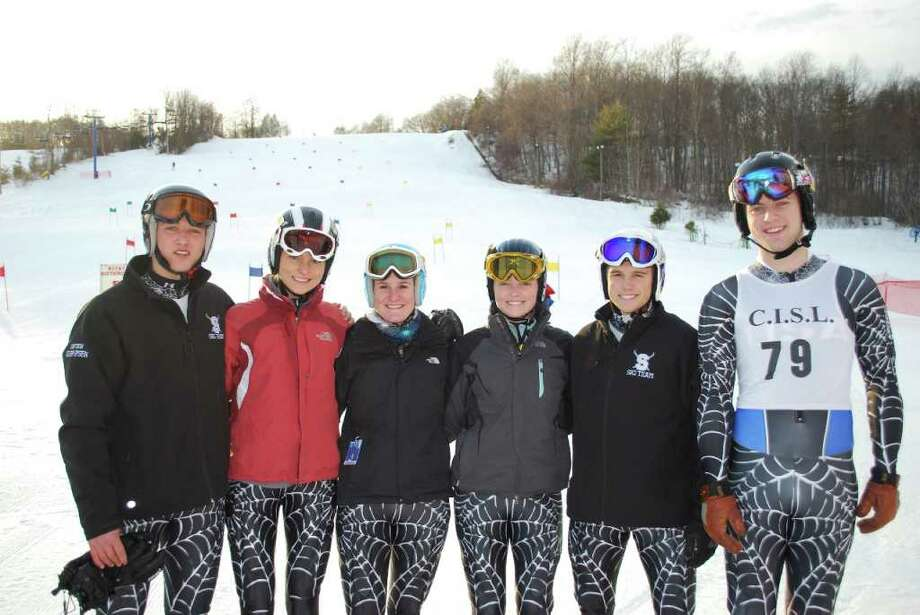 From left, Staples senior captains Kasper Klein-Ipsen, Jessica Russ, Melissa Sweeney, Abby Russ, Mike Scott and Harry Lawrence will lead their teams into the State Open tomorrow at Mt. Southington. Photo: Contributed Photo / Mike Corbally