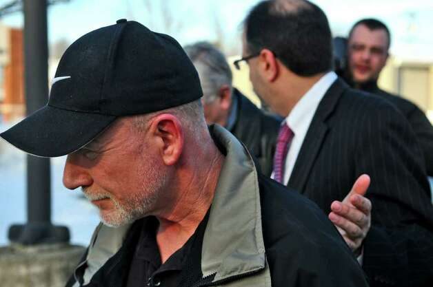 Edward O'Rourke leaves Wilton Town Court following an appearance in March. ( Philip Kamrass / Times Union archive ) Photo: Philip Kamrass