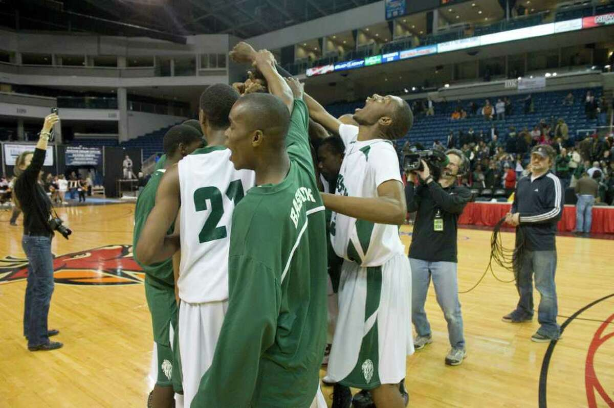 Bassick and Stamford High Schools meet in the FCIAC Championship boys basketball finals at Harbor Yard in Bridgeport, Ct., March 1, 2011. Bassick won 57-51.