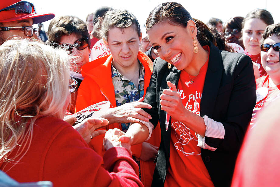 Eva Longoria greets supporters during a rally at Morgan's Wonderland against proposed cuts in services for people with intellectual developmental disabilities. Photo: Jerry Lara/glara@express-news.net