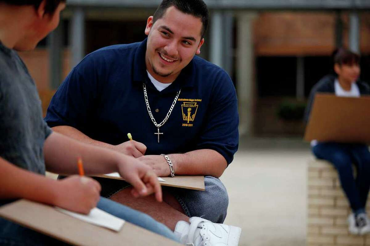 McCollum High senior Steven Puente will graduate in the top 15 percent of his class. His mother is unable to help him pay for college. He has been accepted at Texas State University in San Marcos, where costs run about $16,000 per year.
