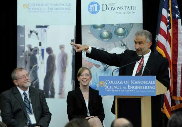 "Dr. Alain E. Kaloyeros, Senior Vice President and CEO of CNSE(r) made the announcement that The University at Albany and the SUNY Downstate Medical Center joined together to start the ""world's first"" program for research physicians in nanoscale medicine on the University at Albany Campus in Albany, New York March 1, 2011.   (Skip Dickstein / Times Union) Photo: Skip Dickstein / 2008"