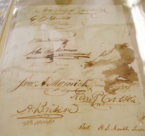 The signature of San Antonian Samuel A. Maverick is among those on the Texas Declaration of Independence, which was approved 175 years ago. Photo: Mike Graczyk/Associated Press