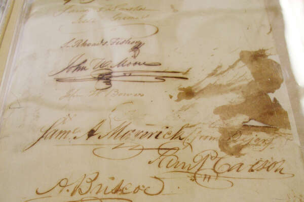The signature of San Antonian Samuel A. Maverick is among those on the Texas Declaration of Independence, which was approved 175 years ago.