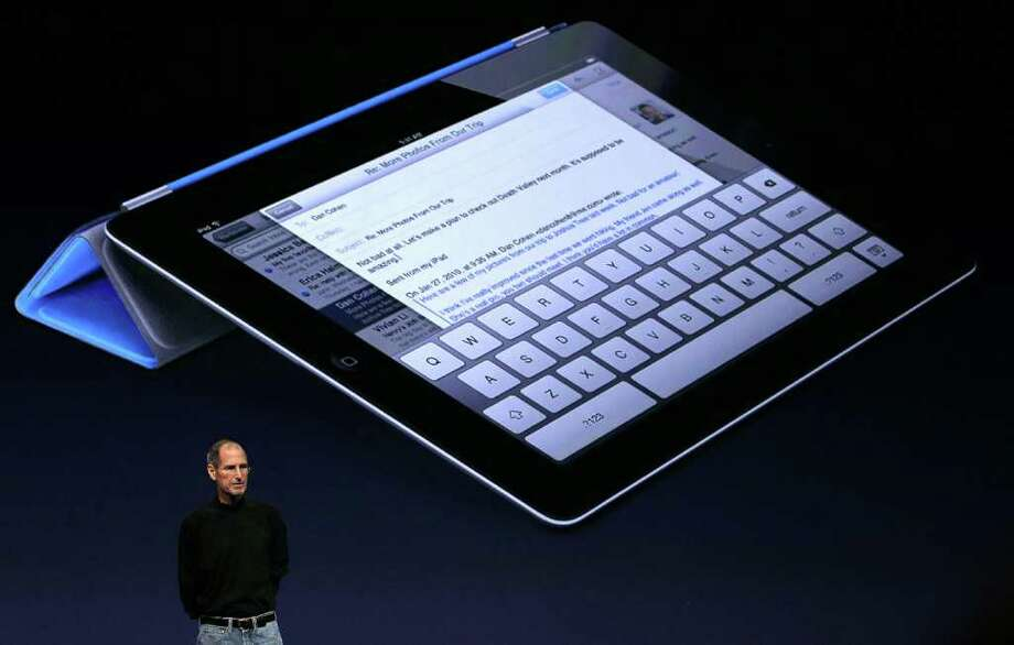 SAN FRANCISCO, CA - MARCH 02:  Apple CEO Steve Jobs speaks about the new case protector during an Apple Special event to unveil the new iPad 2 at the Yerba Buena Center for the Arts on March 2, 2011 in San Francisco, California. Apple unveiled the iPad 2 as the successor to its popular tablet, the iPad.  (Photo by Justin Sullivan/Getty Images) Photo: Justin Sullivan