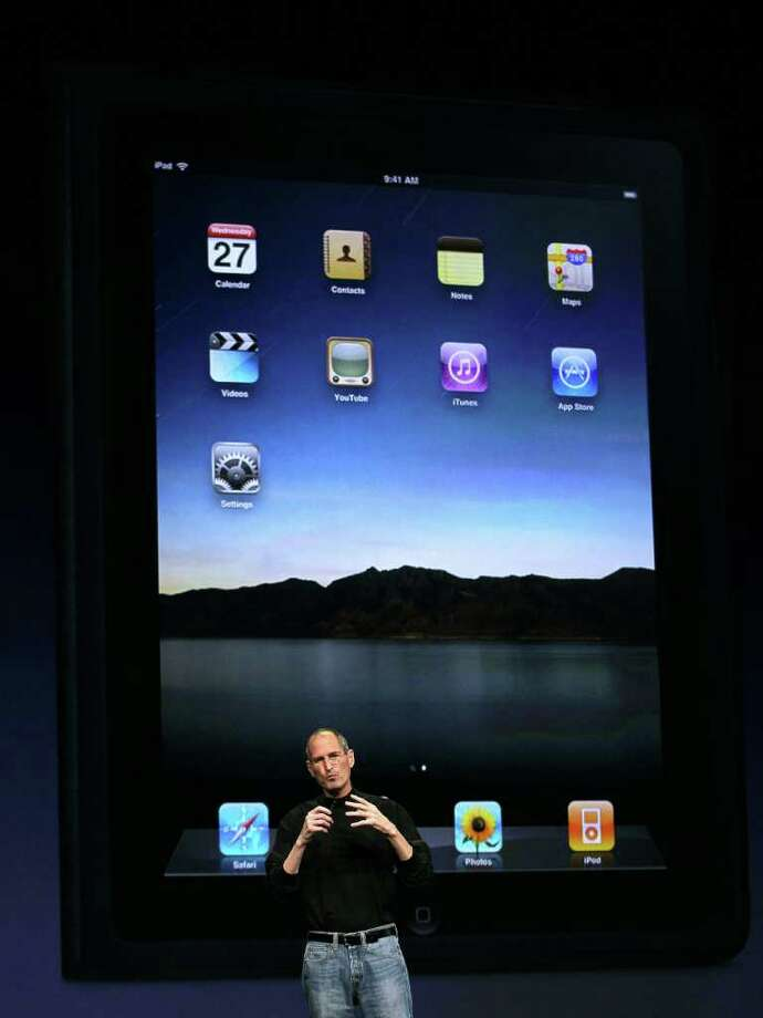 SAN FRANCISCO, CA - MARCH 02:  Apple CEO Steve Jobs speaks during an Apple Special event to unveil the new iPad 2 at the Yerba Buena Center for the Arts on March 2, 2011 in San Francisco, California. Apple unveiled the iPad 2 as the successor to its popular tablet, the iPad.  (Photo by Justin Sullivan/Getty Images) Photo: Justin Sullivan