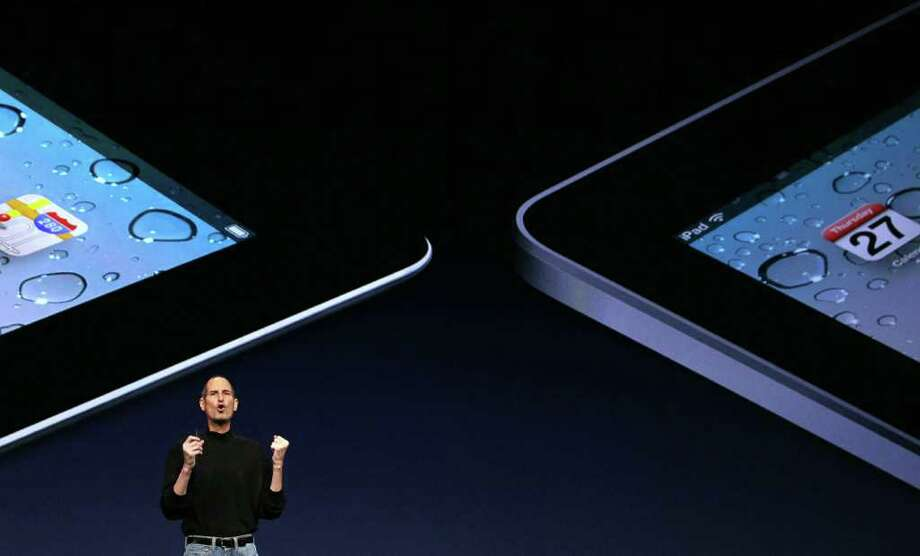 SAN FRANCISCO, CA - MARCH 02:  Apple CEO Steve Jobs speaks during an Apple Special event at the Yerba Buena Center for the Arts on March 2, 2011 in San Francisco, California. Apple unveiled the iPad 2 as the successor to its popular tablet, the iPad.  (Photo by Justin Sullivan/Getty Images) Photo: Justin Sullivan
