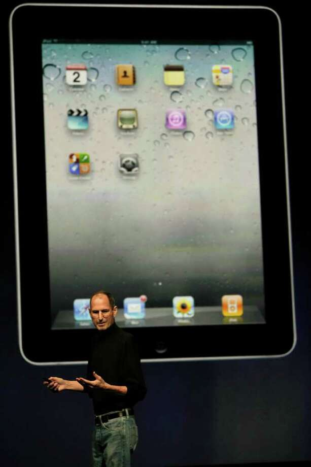 Steve Jobs, chief executive officer of Apple Inc., introduces the iPad 2 at an event in San Francisco, California, U.S., on Wednesday, March 2, 2011. Jobs, making his first public appearance since taking medical leave in January, unveiled a follow-up to a tablet computer released last April that has front and rear cameras, and a faster A5 chip. Photographer: David Paul Morris/Bloomberg *** Local Caption *** Steve Jobs Photo: David Paul Morris / © 2011 Bloomberg Finance LP