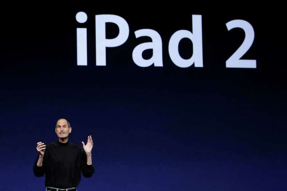 Apple Inc. Chairman and CEO Steve Jobs speaks about the iPad 2 at an Apple event at the Yerba Buena Center for the Arts Theater in San Francisco, Wednesday, March 2, 2011. (AP Photo/Jeff Chiu) Photo: Jeff Chiu
