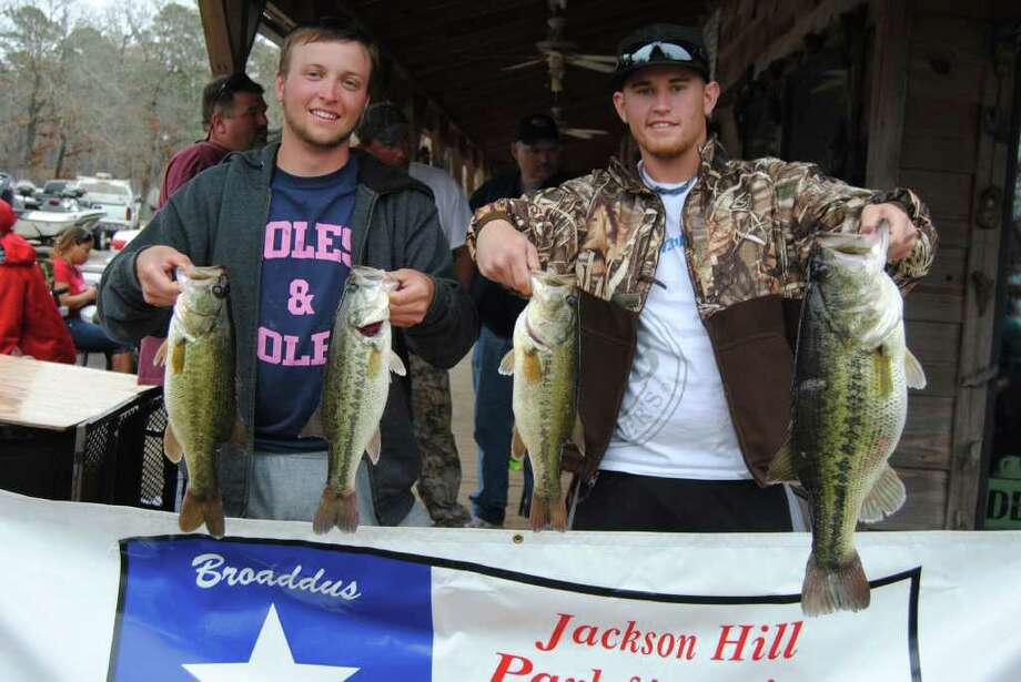 Cody Caldwell and Conner Nabours brought in the days Big Bass with a 7.81lb.  big girl caught at midday with a Watermelon Fluke in 4 ft. of water Photo: Terry Sympson