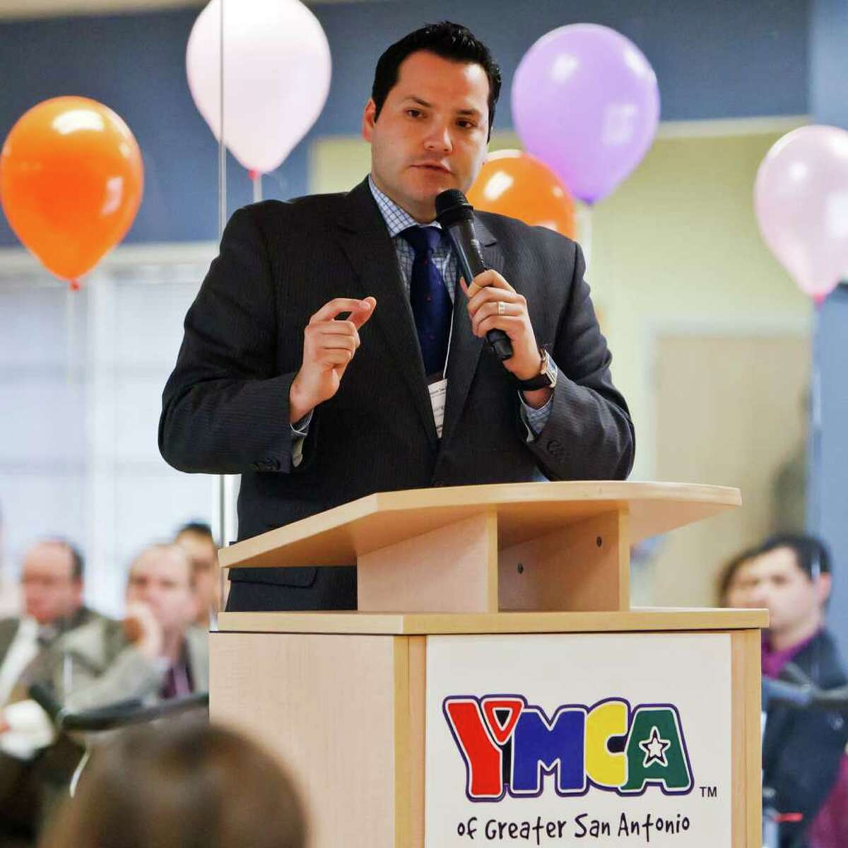San Antonio City Councilman Justin Rodriguez speaks about issues facing the community at a