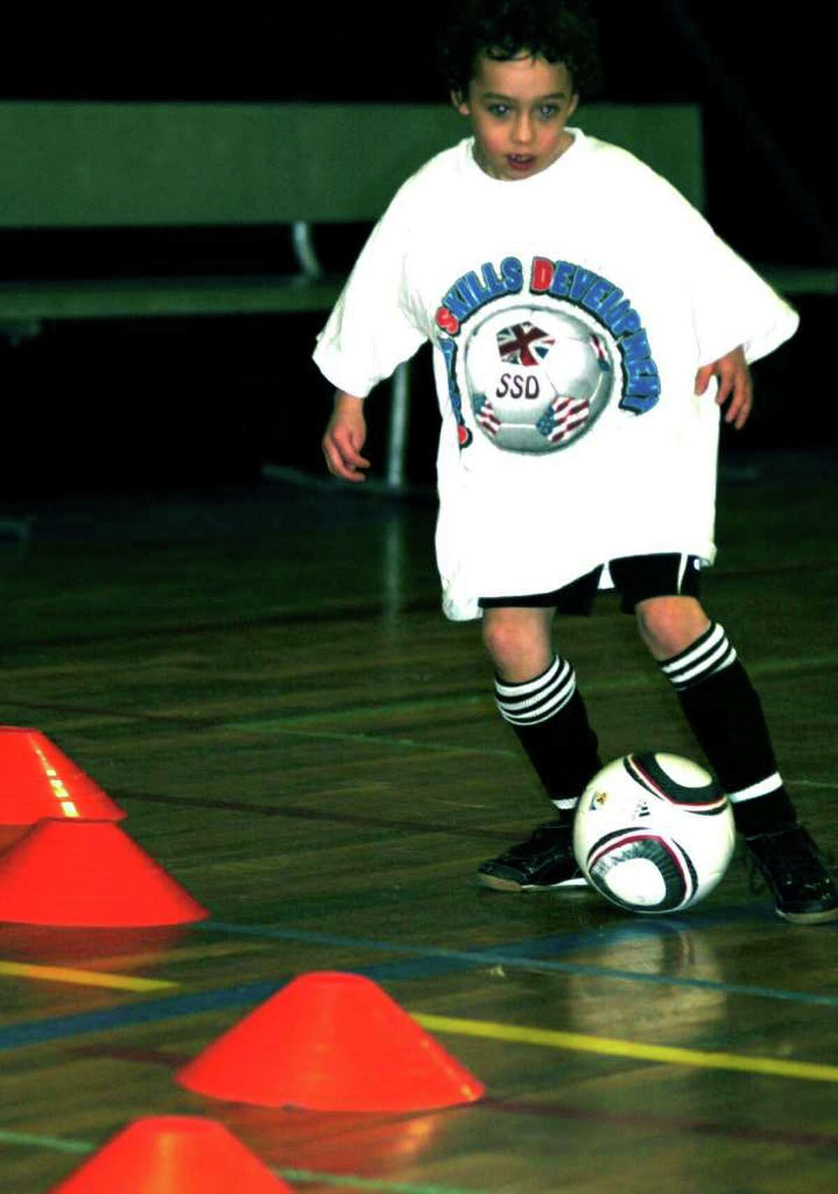 SPECTRUM/Devin Walsh demonstrates his foot skills at the Soccer Skills program, Feb. 25, 2011 at the Connecticut Sports Arena.