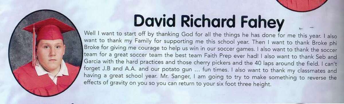 David Richard Fahey's 2005-2006 yearbook photo from Faith Academy/ Faith Preparatory School in New Milford.