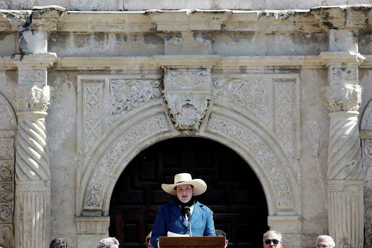 Chandler Wahrmund, 16, recites excerpts from the Texas Declaration of Independence during a celebration in front of the Alamo on Wednesday, March 2, 2011. The Alamo Mission Chapter of the Daughters of the Republic of Texas honored educators and students of Texas history as part of the 175th anniversary of the state's independence.