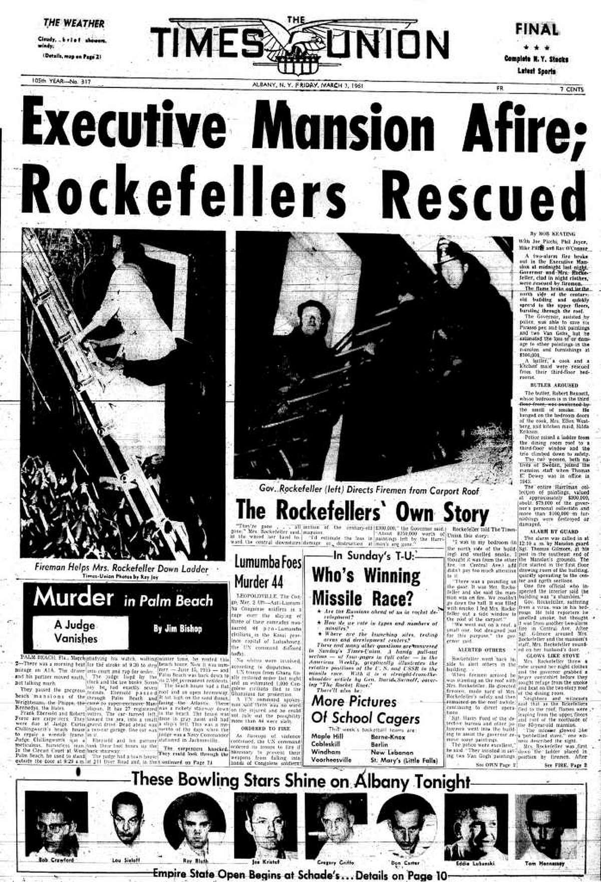 The front page of the Times Union the morning after a fire heavily damaged the Executive Mansion on Eagle Street in Albany. The story reported Gov, Nelson A. Rockefeller and his wife, Mary, were rescued from the burning building.