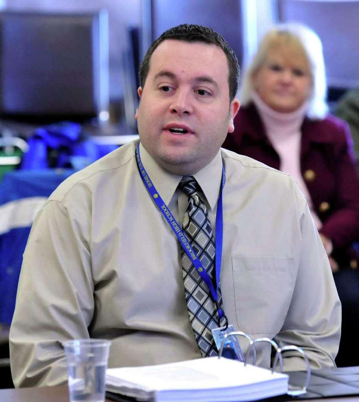 Ed Bednarik, math deptartment chairman for Brookfield Public Schools, testifies during the termination hearing of high school math teacher Robert Wollkind, Thursday, March 3, 2011.