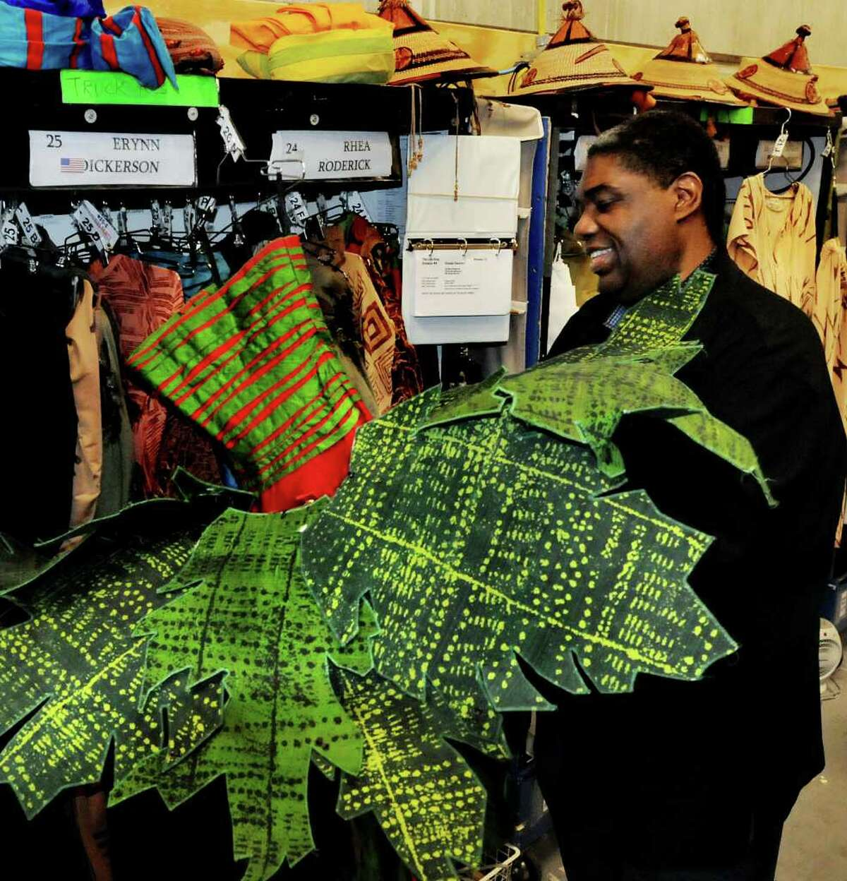 Wardrobe supervisor Gregory Young puts together a jungle tutu dress in the bunker on Wednesday, March 2, 2011, at Proctors Theatre in Schenectady, N.Y. (Cindy Schultz / Times Union)