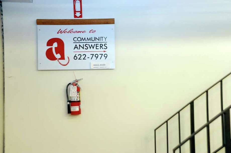 A sign for Community Answers in Greenwich Library, on Thursday, March 3, 2011. Photo: Helen Neafsey / Greenwich Time