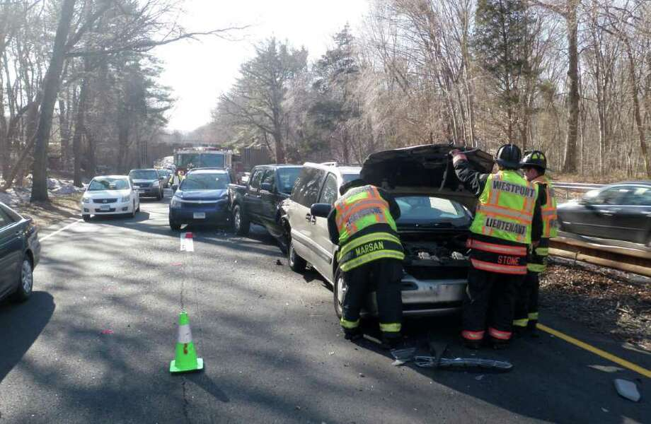 Westport firefighters responded to a four-car motor vehicle accident on the Merritt Parkway between Exits 42 and 44 at approximately 3 p.m. on Thursday, March 3, 2011. Photo: Contributed Photo / Westport News