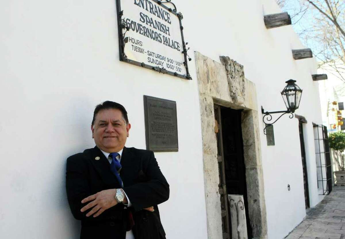 Tejano Historian and activist Rudi Rodriguez poses for portraits in front of the Spanish Governor's Palace on March 2.