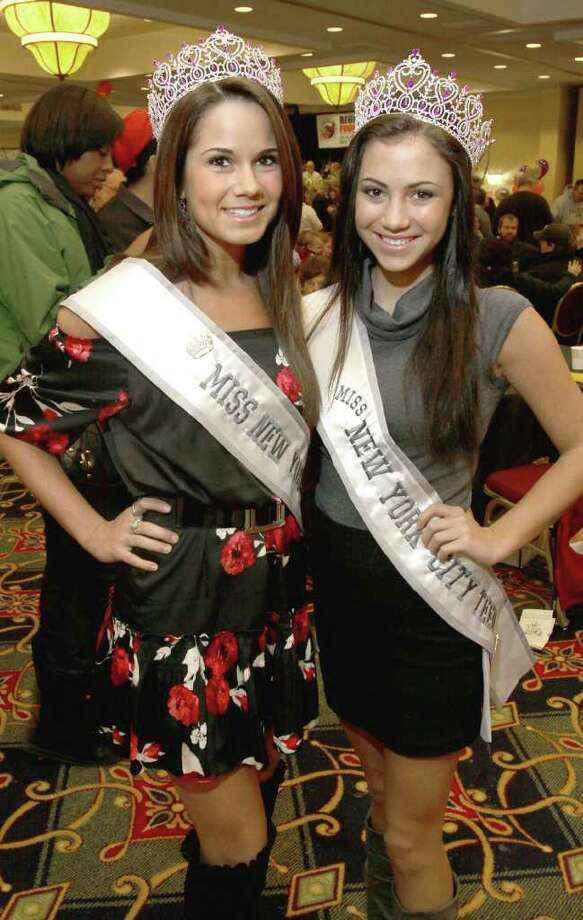 From left: Brittany Jasenski, Miss New York City, and Marissa Matzen, Miss New York City Teen, stopped by the Table Hopping/timesunion.com Mac-N-Cheese Bowl to benefit the Regional Food Bank.  (Photo by Joe Putrock / Special to the Times Union) Photo: Joe Putrock / JP