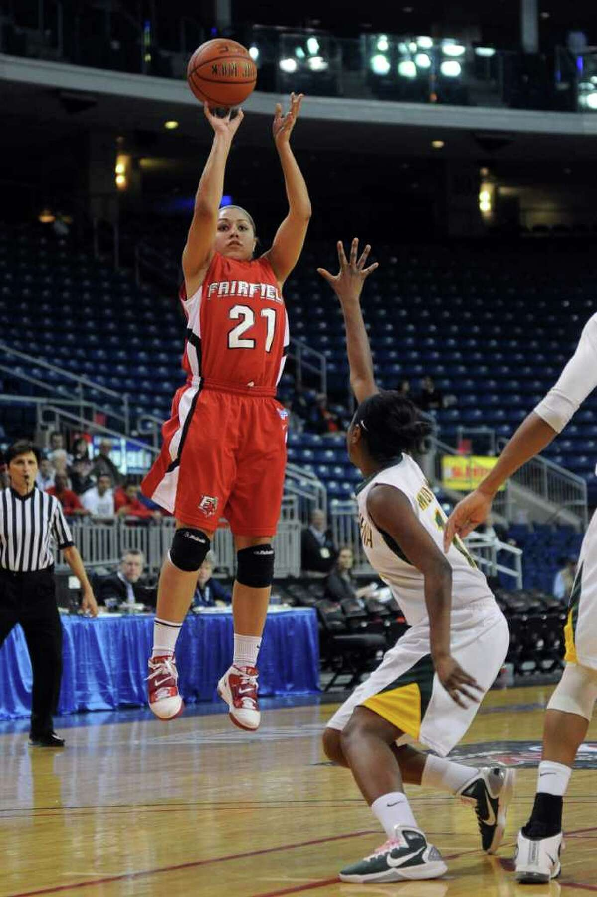Fairfield's Desiree Pina takes a shot during Friday's MAAC Tournament quarterfinal game at Webster Bank Arena at Harbor Yard on March 4, 2011.
