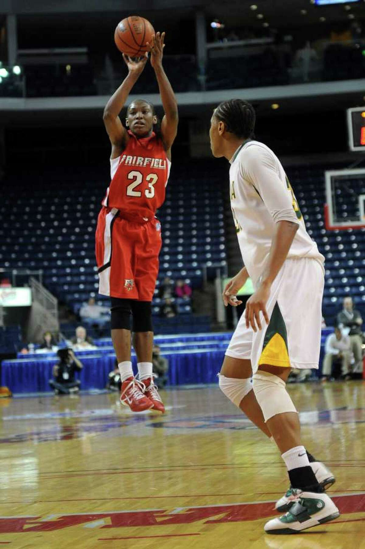 Fairfield's Taryn Johnson takes a shot during Friday's MAAC Tournament quarterfinal game at Webster Bank Arena at Harbor Yard on March 4, 2011.