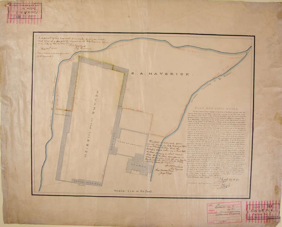 This 1849 plat map includes field notes that provide measurements and other details about the Alamo buildings and walls that remained standing or had been leveled shortly after the battle. Photo: Courtesy Photo