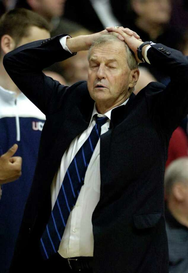 Coach Jim Calhoun reacts during his team's 70-67 loss to Notre Dame in an NCAA college basketball game in Storrs, Conn., on Saturday, March. 5, 2011. (AP Photo/Fred Beckham) Photo: AP
