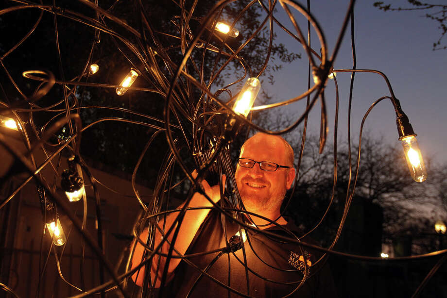 Dave Morgan, Magik Theatre's artistic coordinator and technical director, is setting the stage for the fourth annual downtown arts blowout, set for Saturday at HemisFair Park. JENNIFER WHITNEY / SPECIAL TO THE EXPRESS-NEWS