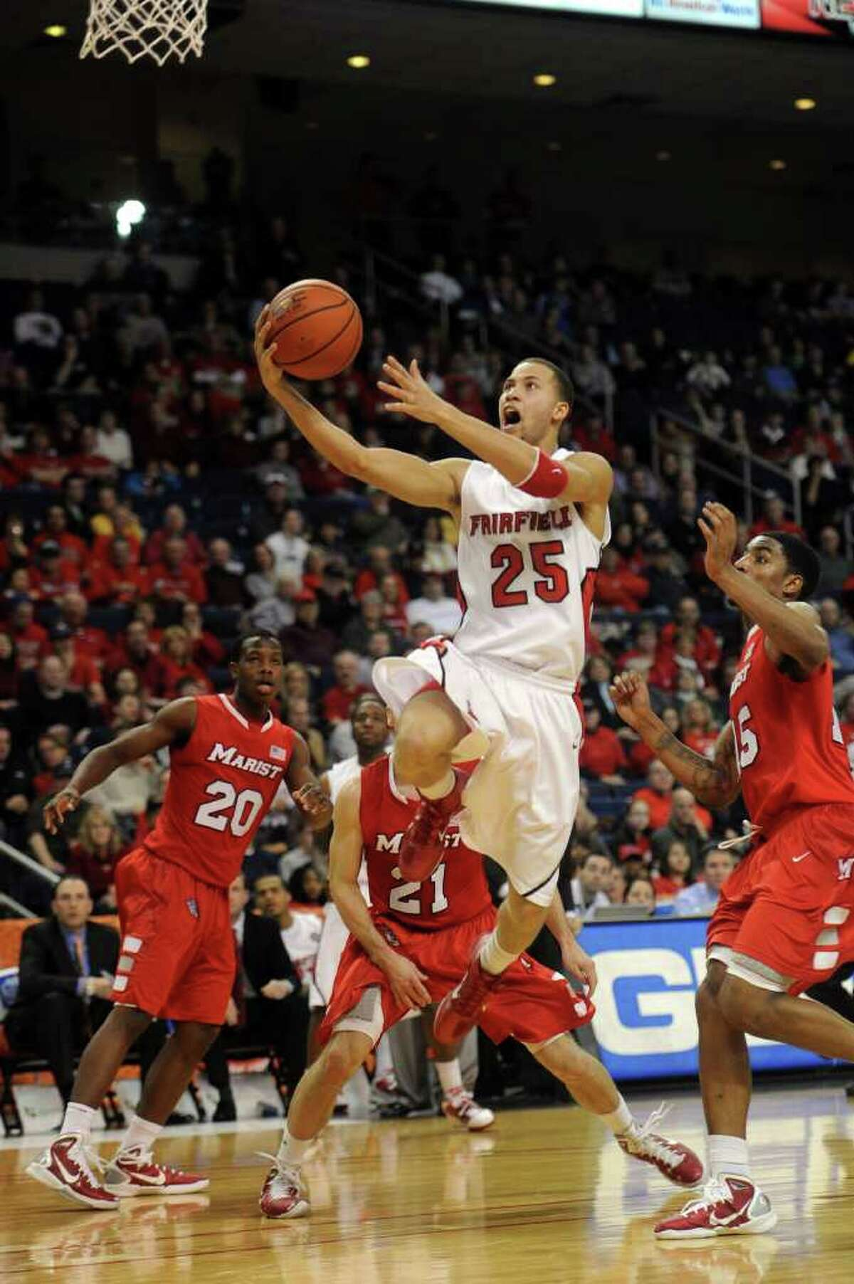 Fairfield University's Colin Nickerson takes a shot during Saturday's MAAC quarterfinal game at Webster Bank Arena at Harbor Yard on March 5, 2011.