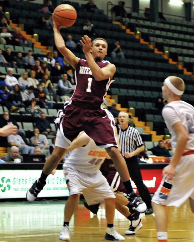 Watervliet's #1 Jordan Gleason gets off a pass against Catskill during the Class BB/B boys' basketball title game at the Glens Falls Civic Center Saturday night  Mar. 5, 2011.   (John Carl D'Annibale / Times Union) Photo: John Carl D'Annibale / 00012272A
