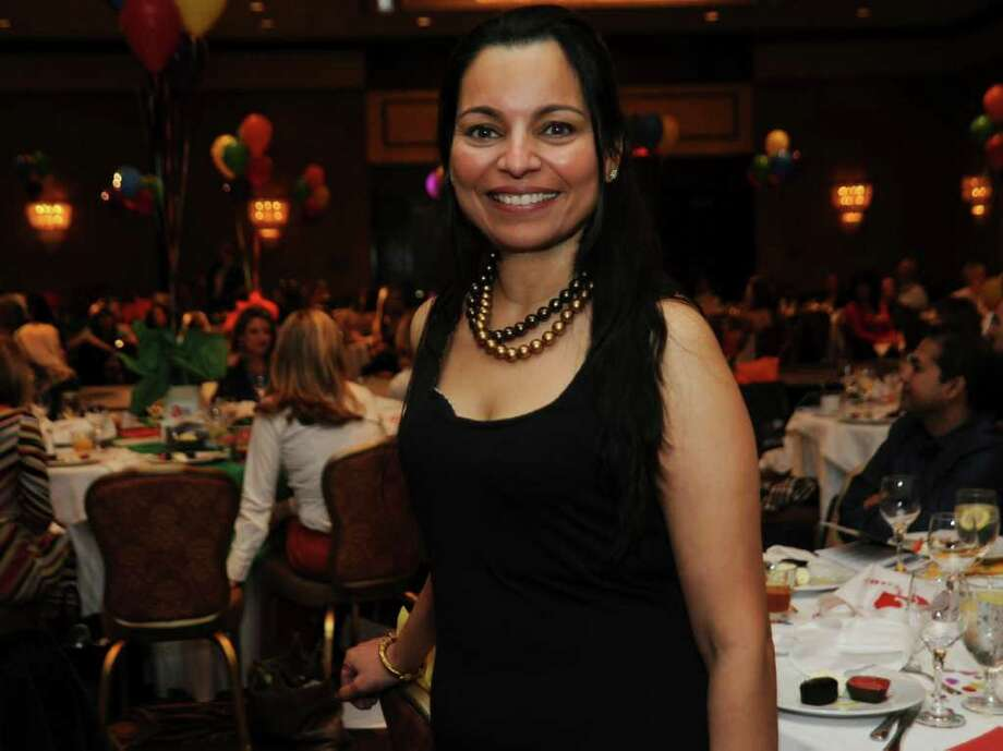 Chitra Shanbhogue, executive director of Community Answers, at their benefit fashion show, silent auction and luncheon at the Hyatt Regency Greenwich, on Sunday, March 6, 2011. Photo: Helen Neafsey / Greenwich Time