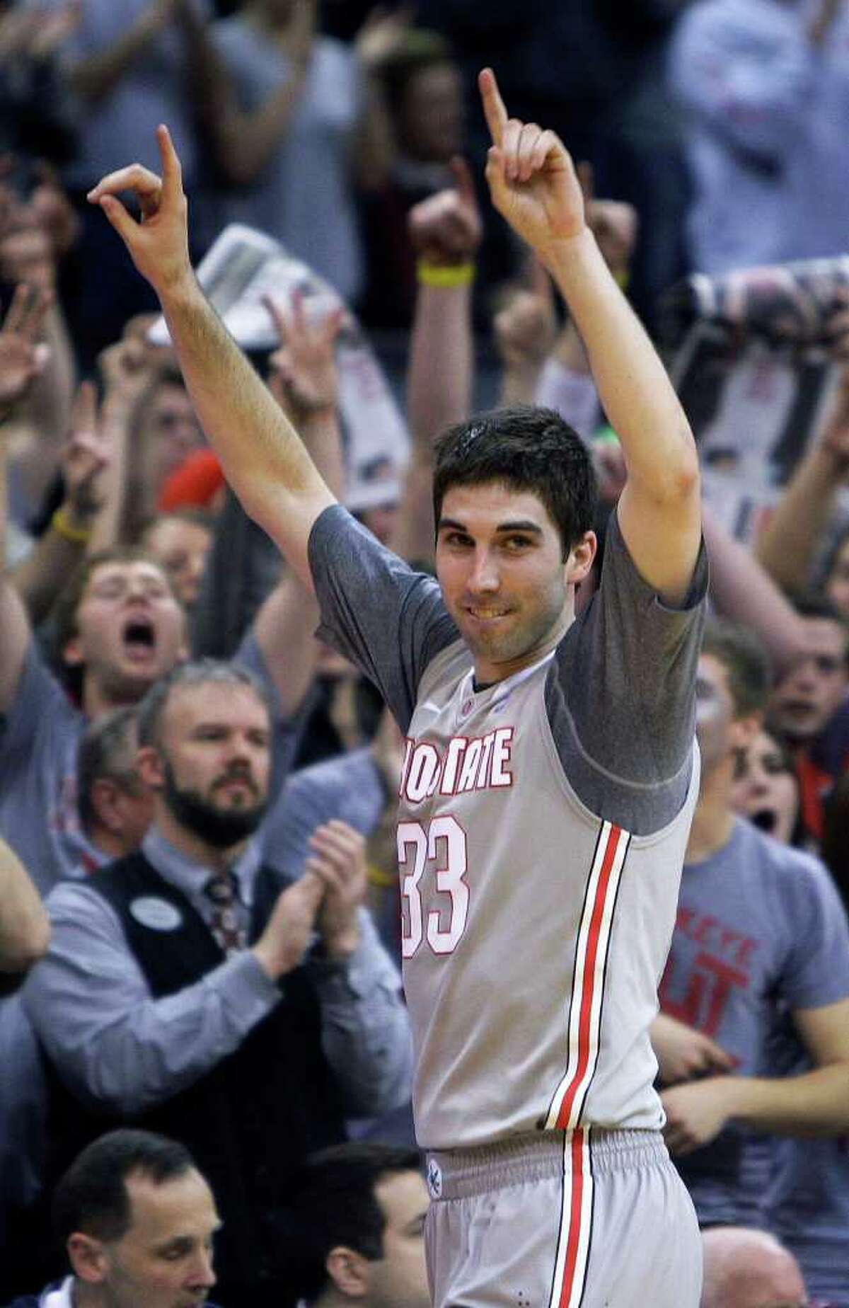 Ohio State's Jon Diebler celebrates after Ohio State defeated Wisconsin 93-65 in an NCAA college basketball game Sunday, March 6, 2011, in Columbus, Ohio. (AP Photo/Jay LaPrete)