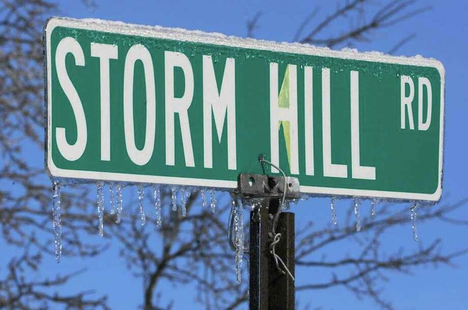 Ice hangs from a road sign off Route 129 in Boyntonville, Rensselaer County, on Monday, March 7, 2011.  (Lori Van Buren / Times Union) Photo: Lori Van Buren