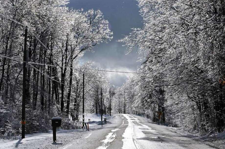 Ice covers branches on trees lining Route 129 in Boyntonville, Rensselaer County, on Monday, March 7, 2011.  (Lori Van Buren / Times Union) Photo: Lori Van Buren