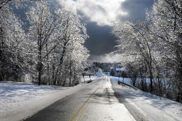 Ice covers tree brances along Route 129 in Boyntonville, Rensselaer County on Monday March 7, 2011.  (Lori Van Buren / Times Union) Photo: Lori Van Buren