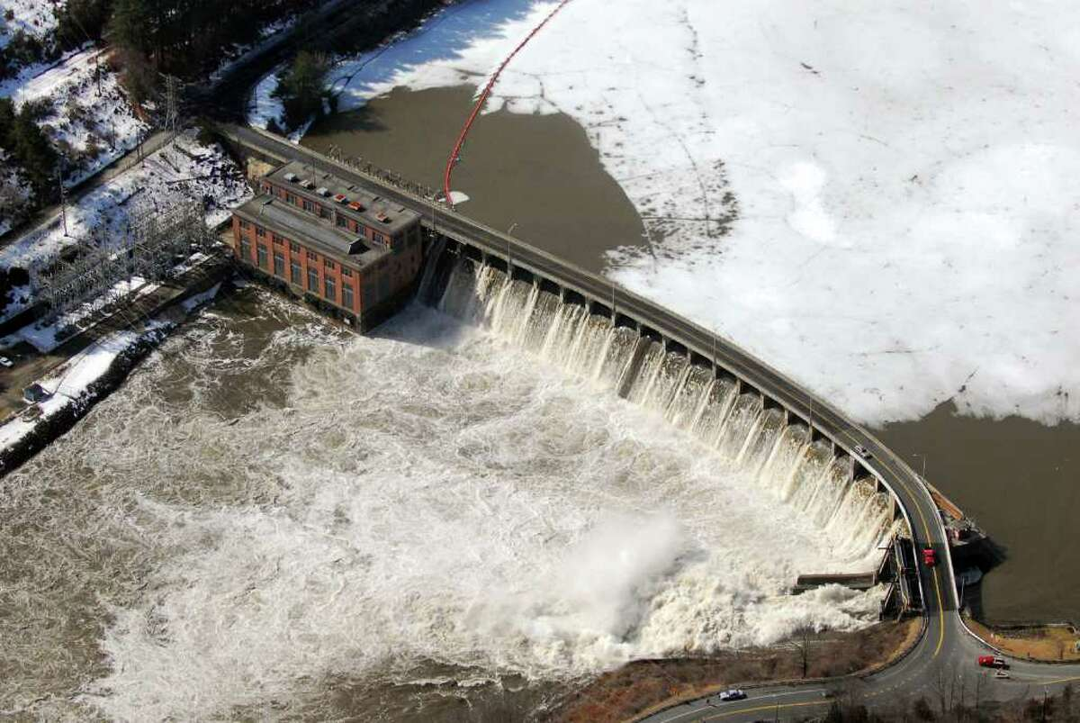 The Housatonic River floods overs the Stevenson Dam between Monroe and Oxford Conn. Monday, March 7th, 2011. Aerial photo by Morgan Kaolian/AEROPIX