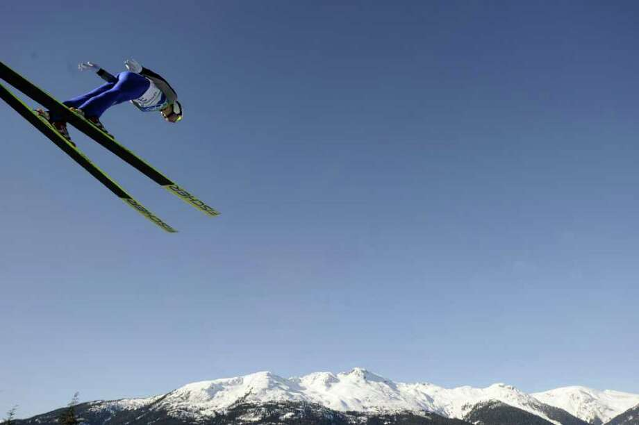 USA's Peter Frenette jumps in the Ski Jumping LH Individual trial at Whistler Olympic Park on February 20, 2010 during the Vancouver Winter Olympics. (Franck Fife / Getty Images) Photo: FRANCK FIFE / AFP