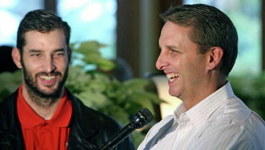 Sports   Koy Detmer (left) and Ty Detmer talk about their new workout center, the Triton Sports Center, at a luncheon with other sports notables at Reggiano's restaurant Wdnesday.   Ty Detmer and Koy Detmer at Reggiano's restaurant with Earl Campbell, Jesse James Leija.  Announcing Triton Sports Center.  Tom Reel/Staff   December 12, 2007. Photo: TOM REEL, SAN ANTONIO EXPRESS-NEWS / SAN ANTONIO EXPRESS-NEWS