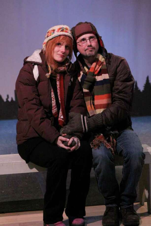 "Lynne Robyn Barasch of South Salem, N.Y., and Mario Fuentes of Port Chester, N.Y., rehearse in a scene from ""Almost, Maine,"" by John Cariani. The play will be performed March 11-13, 18-20, and 25 and 26, at the at the Darien Arts Center, 2 Renshaw Road, Darien. For more information, call 203-655-6414. Photo: Contributed Photo / Stamford Advocate Contributed"
