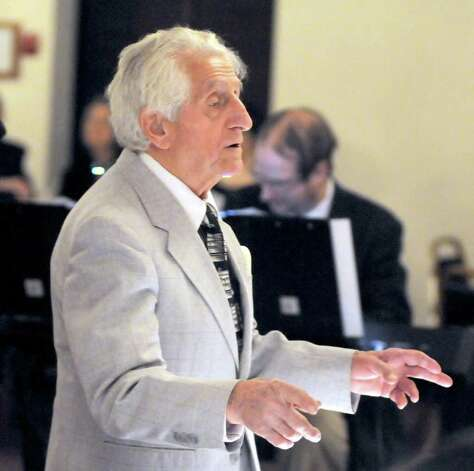 Sonny Carroll leads his orchestra during a performance at Sciortino's Restaurant in Brewster on Sunday Feb. 27, 2011. Photo: Lisa Weir / The News-Times Freelance