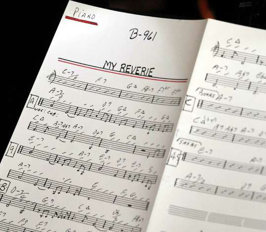 Music used by the Sonny Carroll Orchestra during a performance at Sciortino's Restaurant in Brewster on Sunday Feb. 27, 2011. Photo: Lisa Weir / The News-Times Freelance