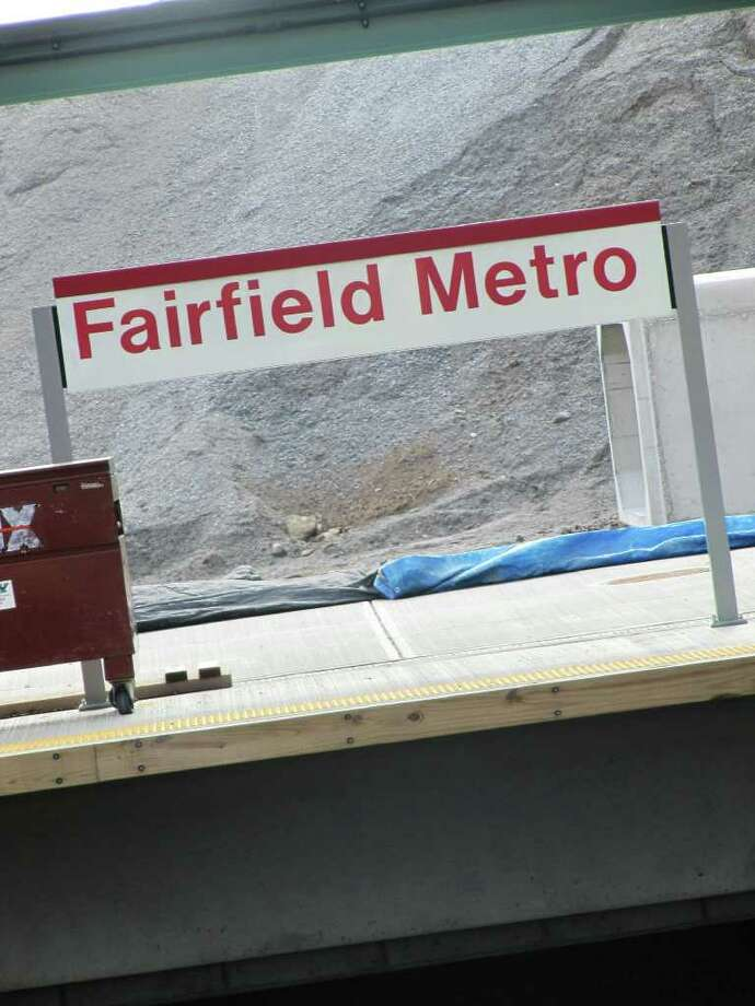 "Pictured is one of many ""Fairfield Metro"" signs at Fairfield's third train station, located off of lower Black Rock Turnpike. The station, still in the construction phase, is expected to be up and running by the fall. Photo: Kirk Lang, Contributed Photo / Fairfield Citizen contributed"