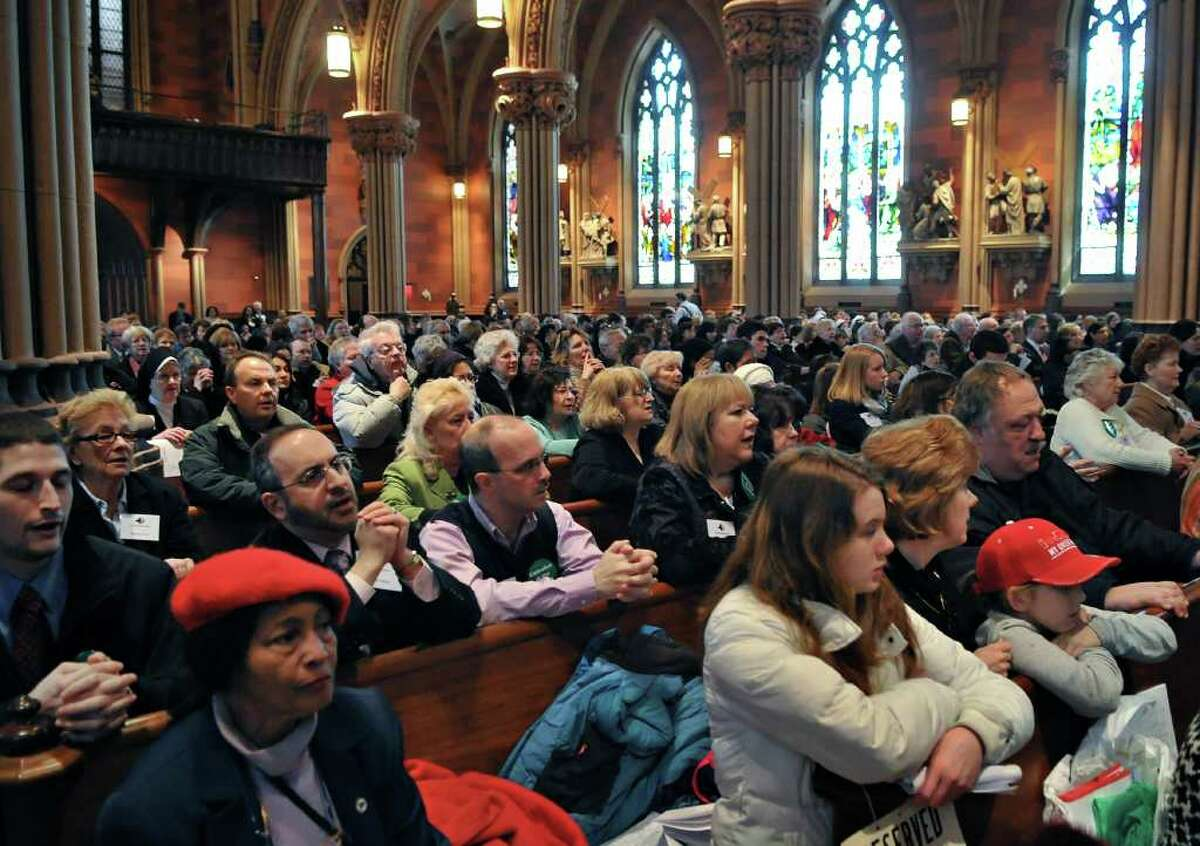 Catholics fill the Cathedral of the Immaculate Conception in Albany during a Mass with Archbishop Timothy M. Dolan of New York and other NYS Bishops at Tuesday morning March 8, 2011. (John Carl D'Annibale / Times Union)