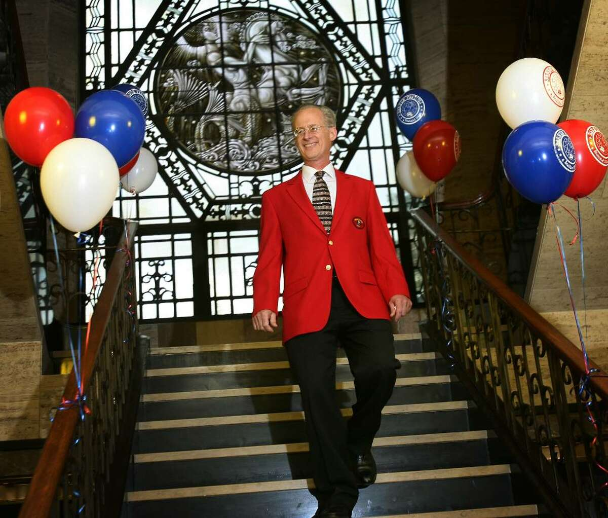 Tom Santa is introduced as 2010 Barnum Festival ringmaster during a reception at Aquarion Water Co. offices in downtown Bridgeport on Wednesday, September 16, 2009.