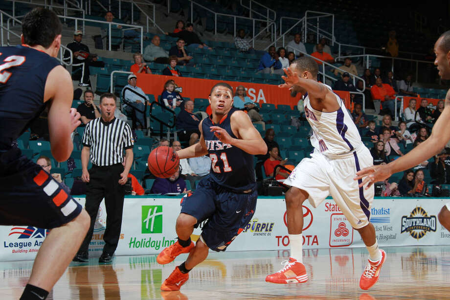 Devin Gibson had a triple-double as UTSA rallied from 14 down to defeat Northwestern St. 97-96 in the quarterfinals of the Southland Conference Tournament in Katy on Wednesday, March 9, 2011. Photo: Courtesy/Southland Conference